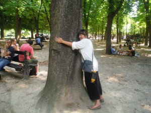 This is me hugging a tree  in The Jardin du Luxembourg in Paris, France.